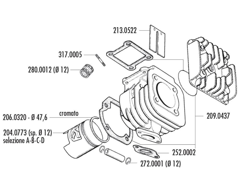 Piston Kit Polini 70cc 12mm Pin B Standing For Minarelli Engine Diagram
