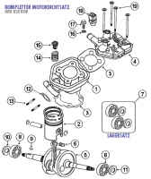 Speedfight 2 50 E2 S1 2T LC 04- Kurbelwelle und Zylinder für Peugeot stehend LC Euro 2