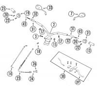 RS450 QM50QT-6 A Qingqi 4T AC Lenker, Schaltereinheiten und Spiegel Rex RS450, QM50QT-6A