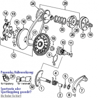 Speedfight 2 50 E1 S1 2T LC -04 Kickstarter, Kupplung und Variomatik für Peugeot stehend