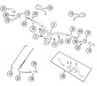 GMX550 4T AC Lenker, Schaltereinheiten und Spiegel Rex RS500, QM50QT-6AA