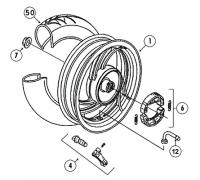 YM50QT-C 4T AC Hinterrad 10 Zoll für Baotian BT49QT-9, YY50QT